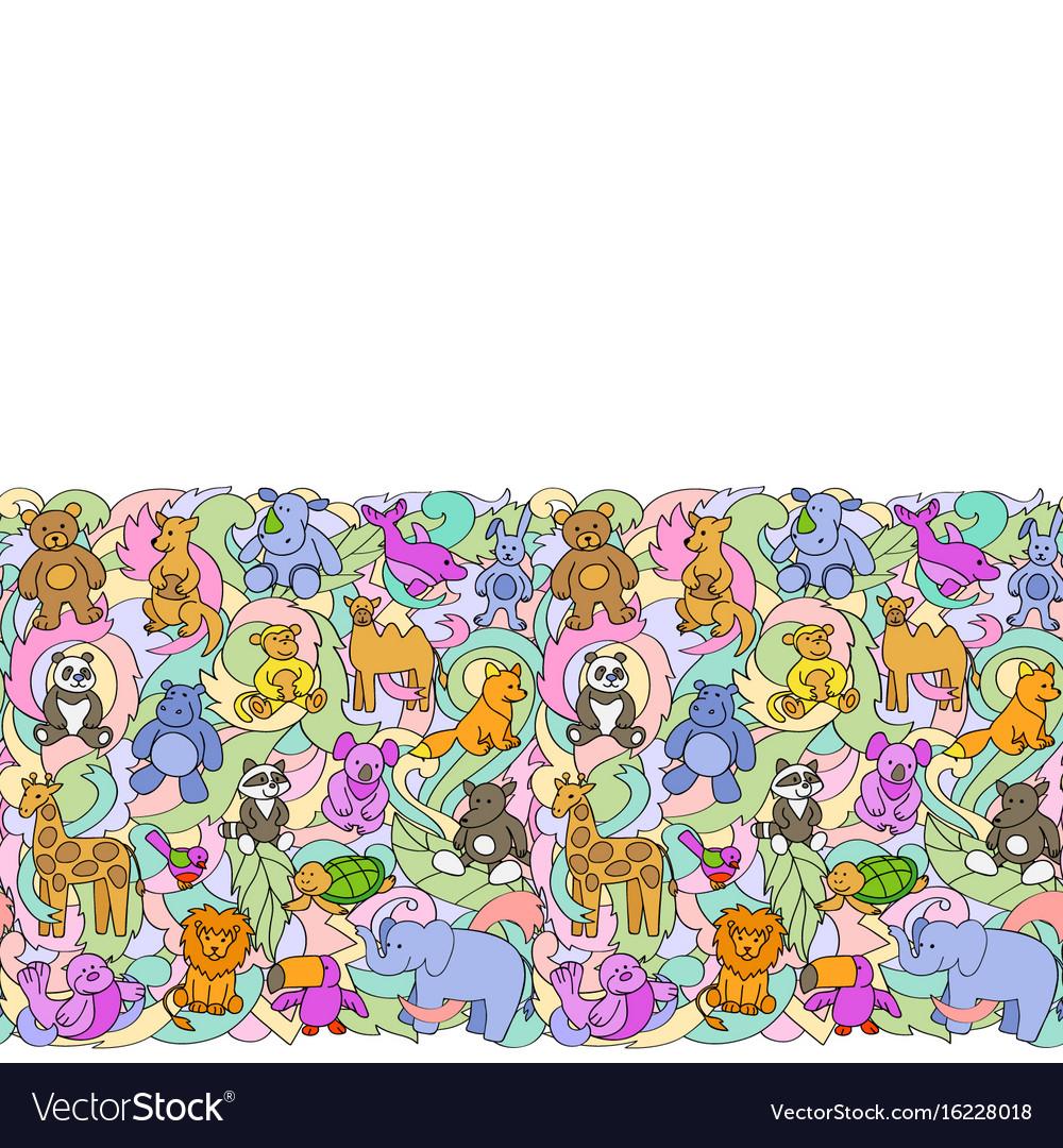 Animal toys seamless border vector image