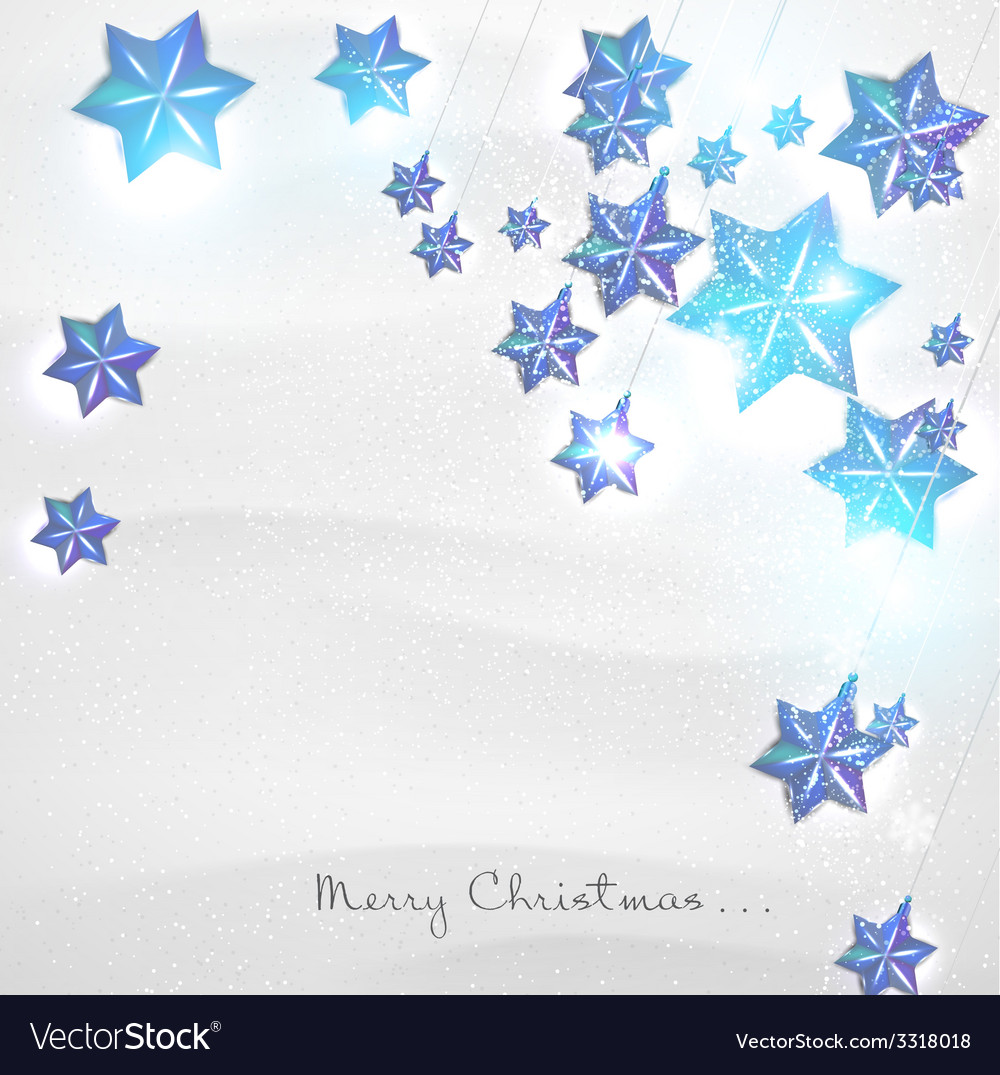 Christmas background with blue stars garland