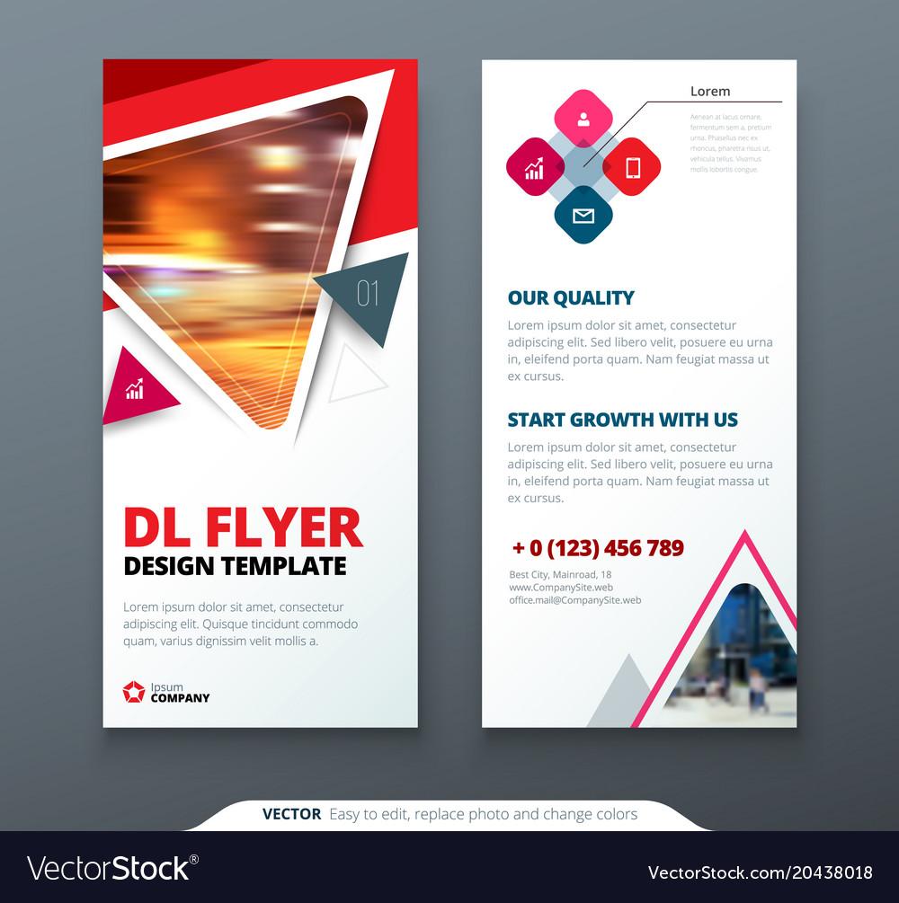 Dl Flyer Design Red Orange Template Dl Flyer Vector Image