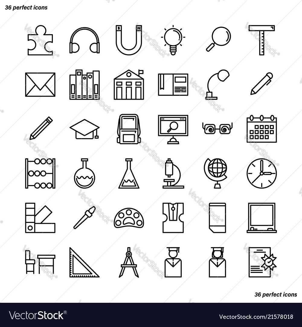 Education and learning outline icons perfect pixel