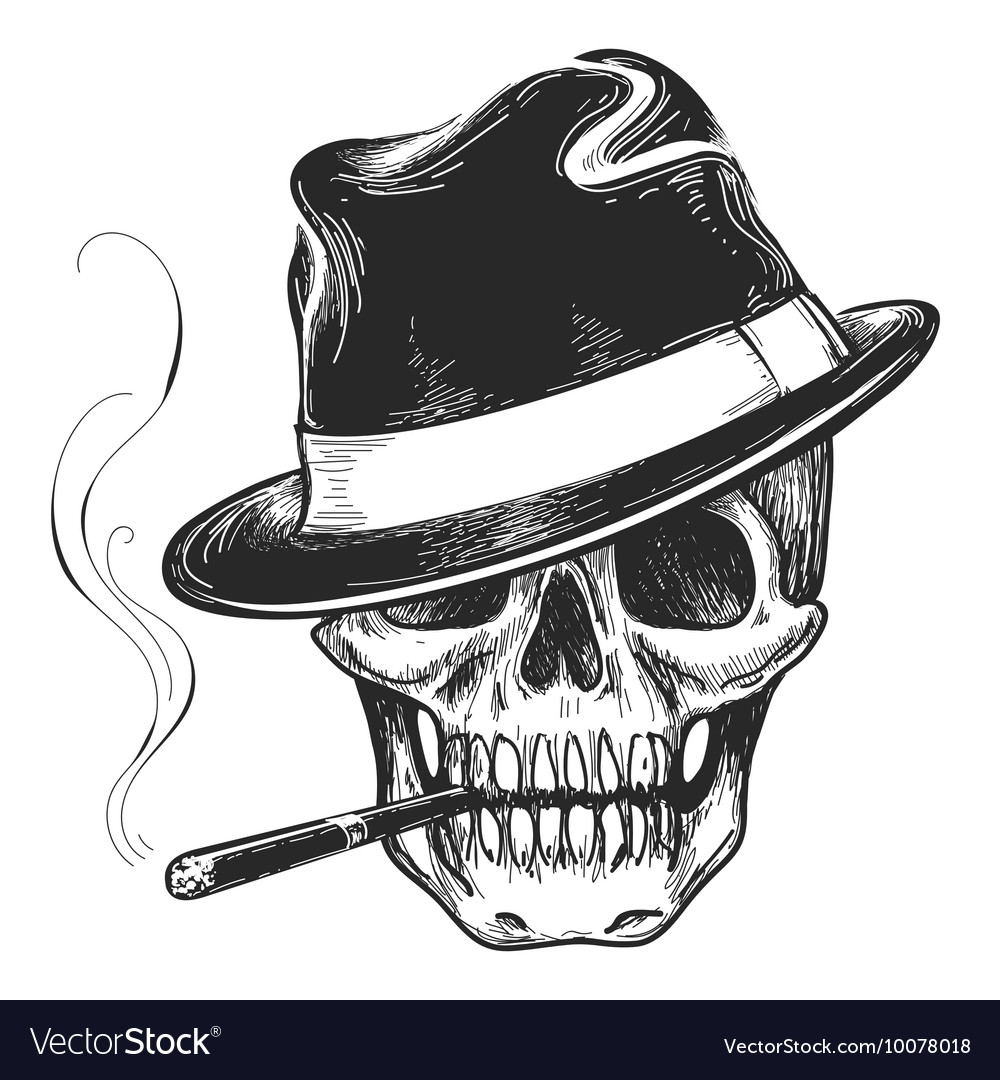 gangster skull tattoo royalty free vector image. Black Bedroom Furniture Sets. Home Design Ideas