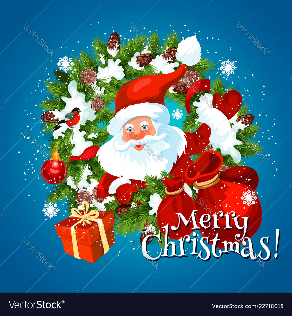 Merry christmas holiday greetings with santa
