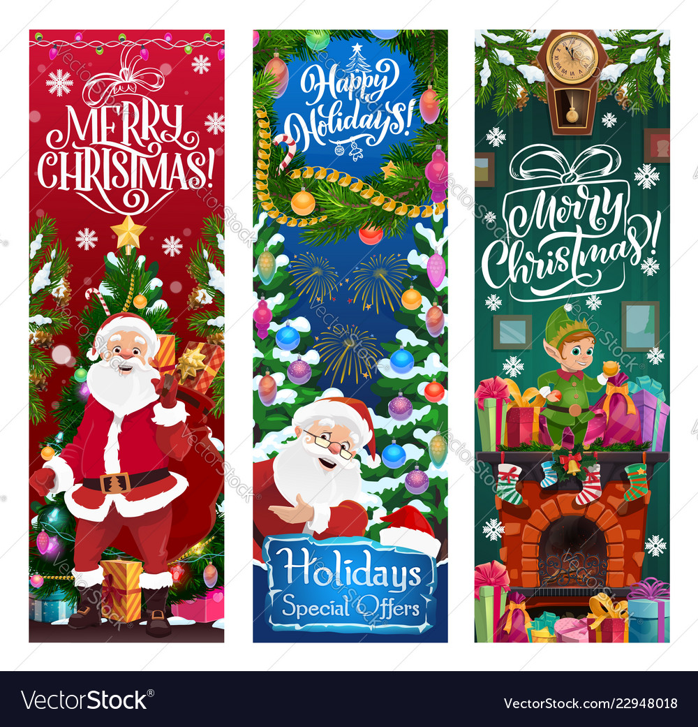 Santa elf and gifts christmas sale offer Vector Image