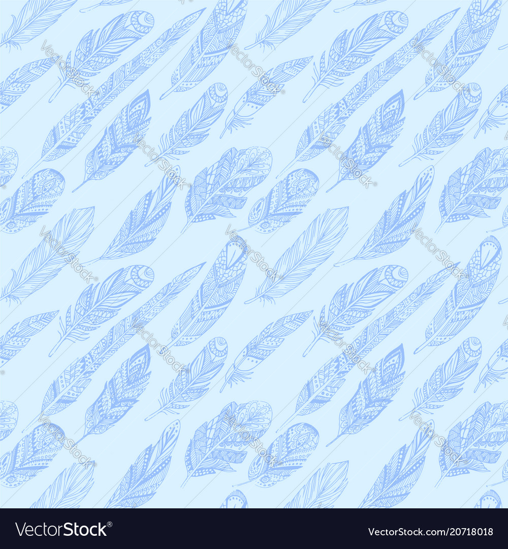 Seamless pattern with ethnic feathers vector image