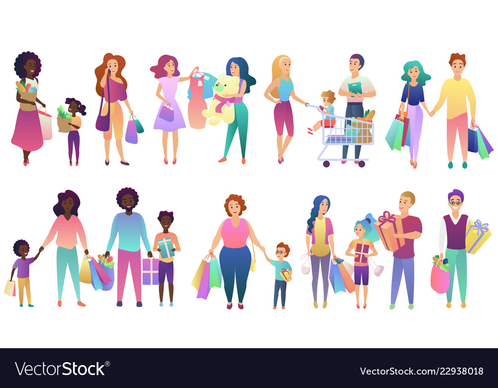 Set of shopping family people isolated