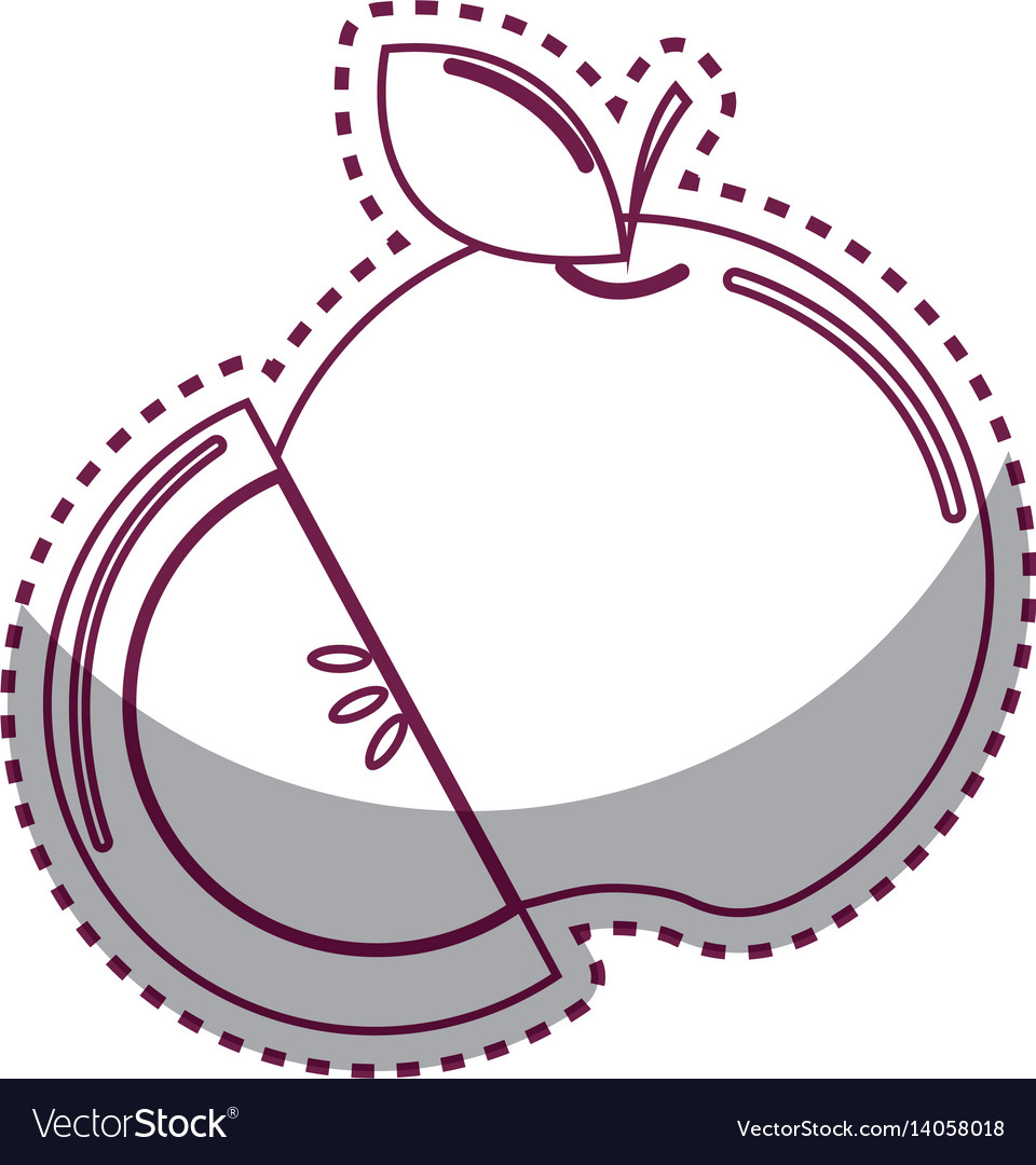 Sticker silhouette apple fruit icon stock