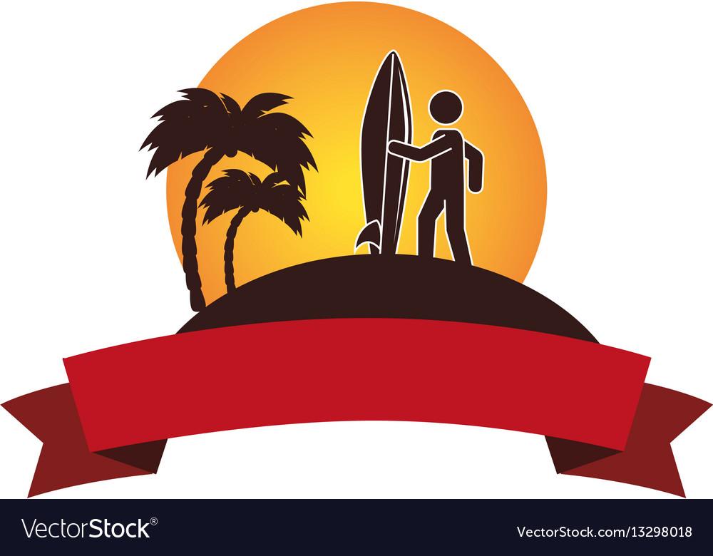 Surfboard sport summer icon