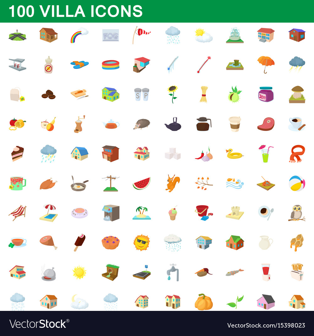 100 villa icons set cartoon style