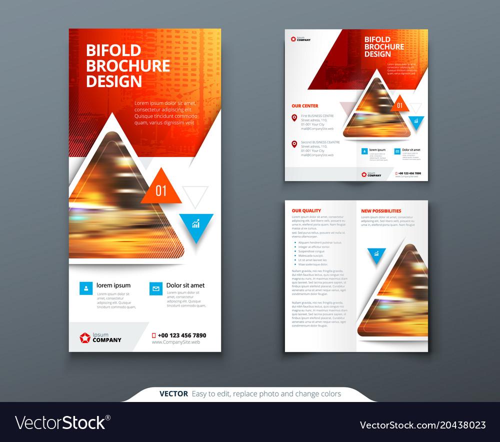 bifold brochure design red orange template for vector image