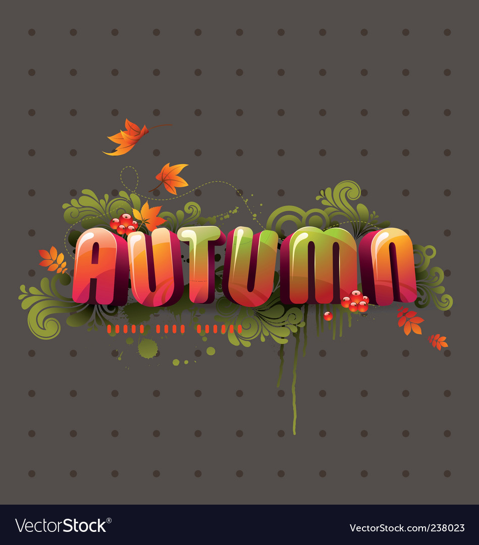Colorful 3d autumn headline