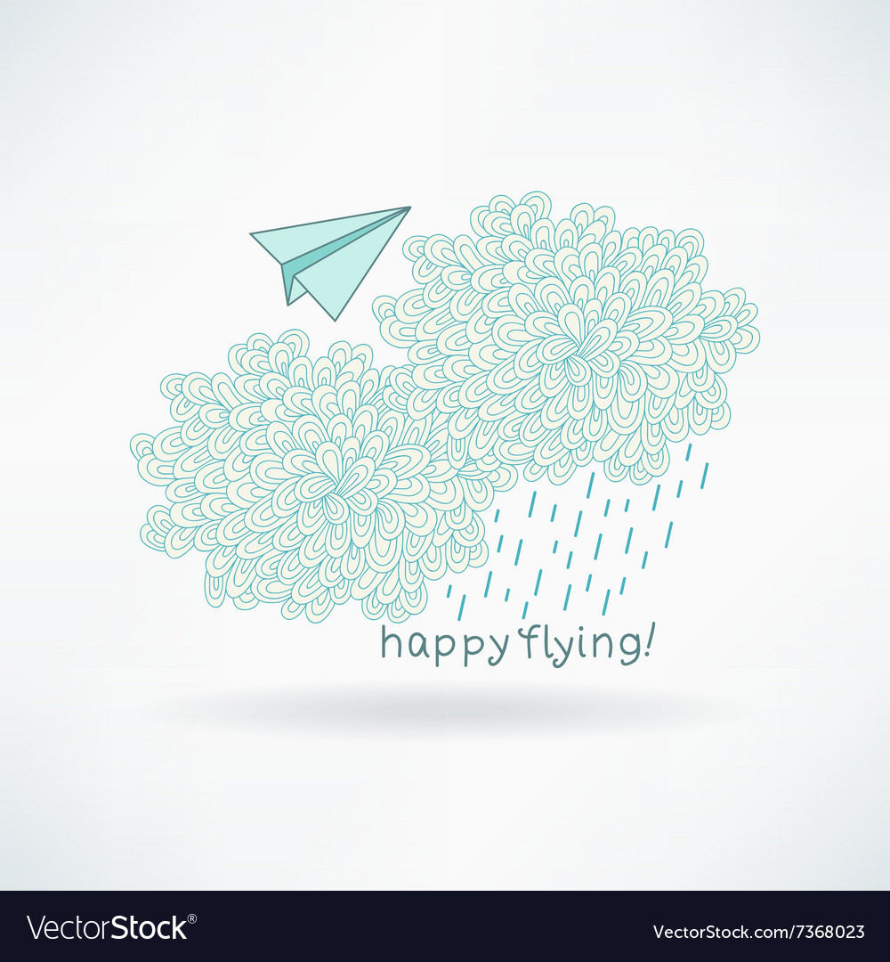 Cute hand-drawn greeting card with a paper plane