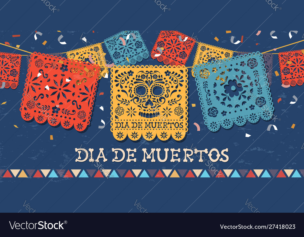Day dead papercut mexican skull banner