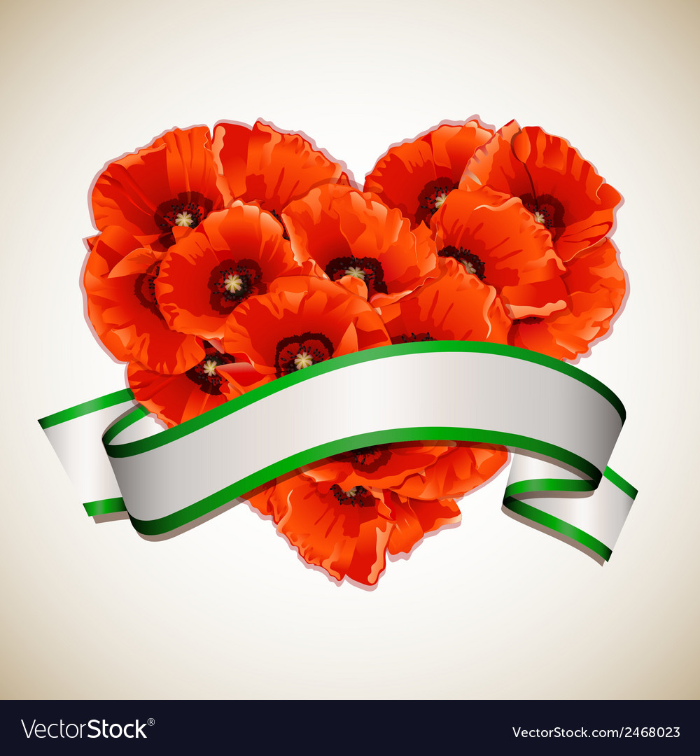 Flower heart of red poppies with ribbon