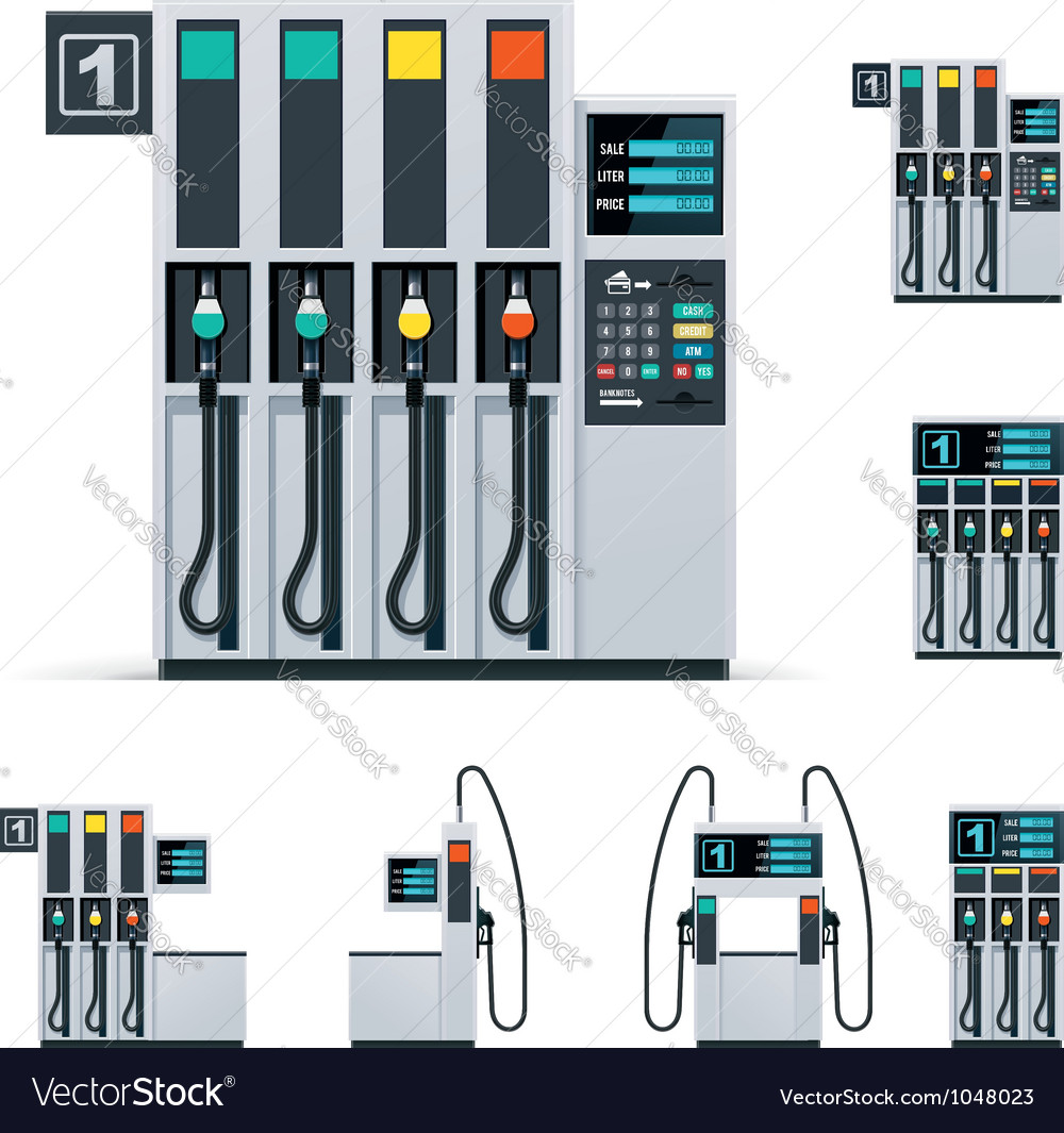 Gas station pumps set vector image