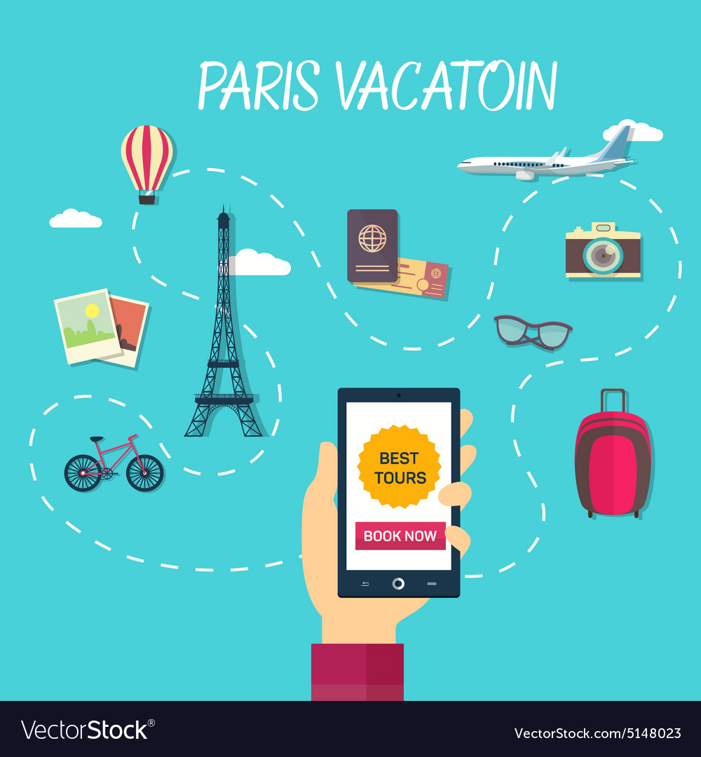 Path of travel through france vector image