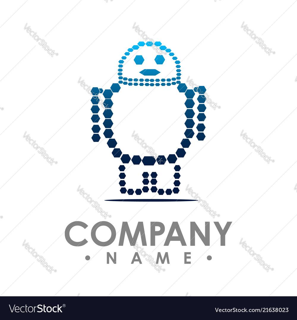 Robot logo simple of robot brain logo for web
