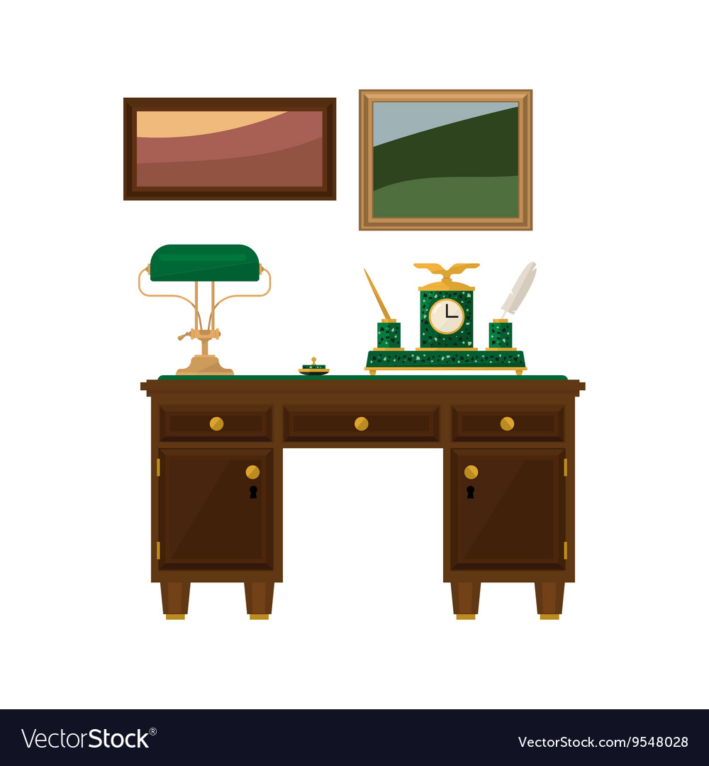 Antique Wooden Home Office Desk vector image - Antique Wooden Home Office Desk Royalty Free Vector Image
