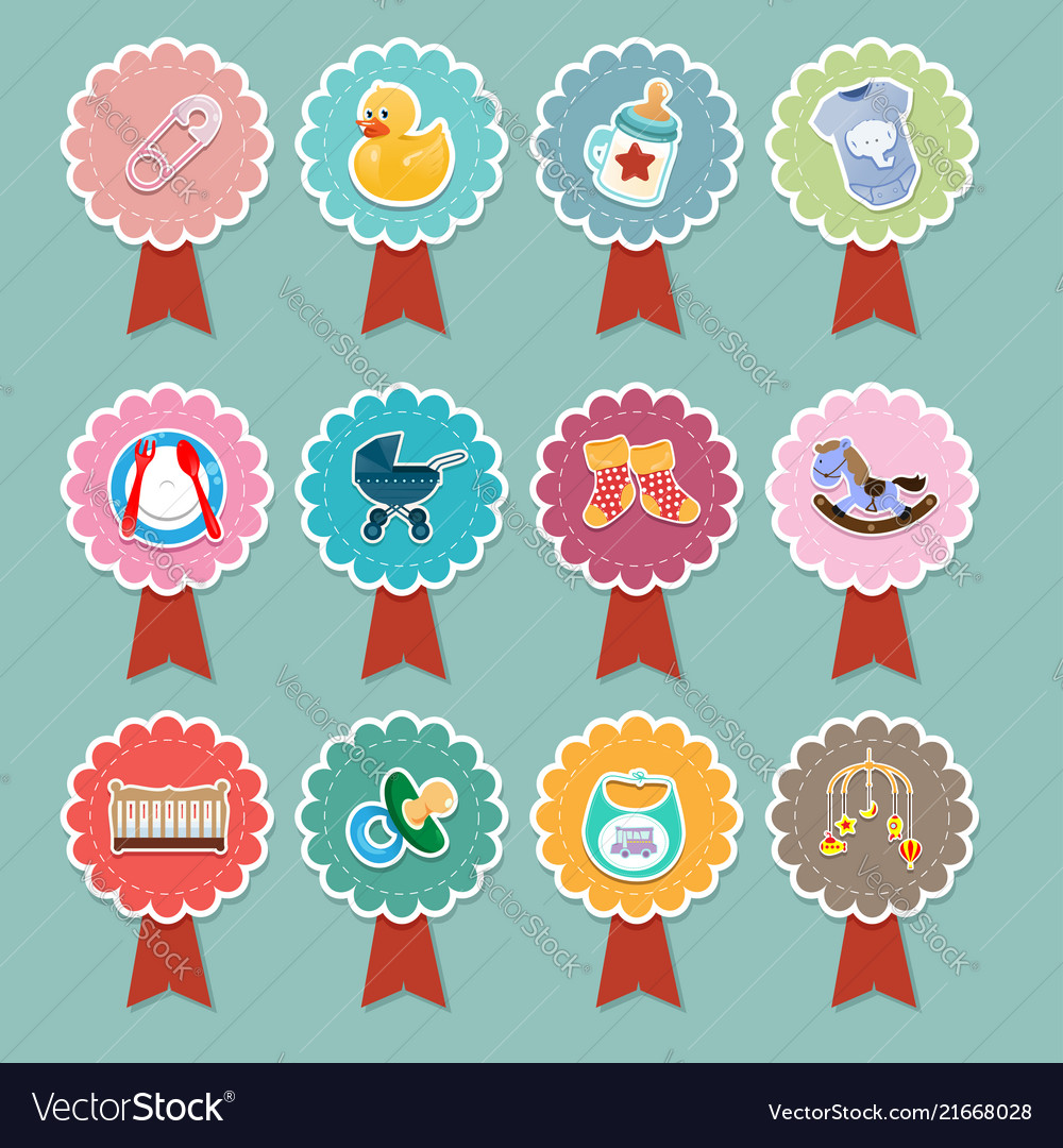 Baby items icons