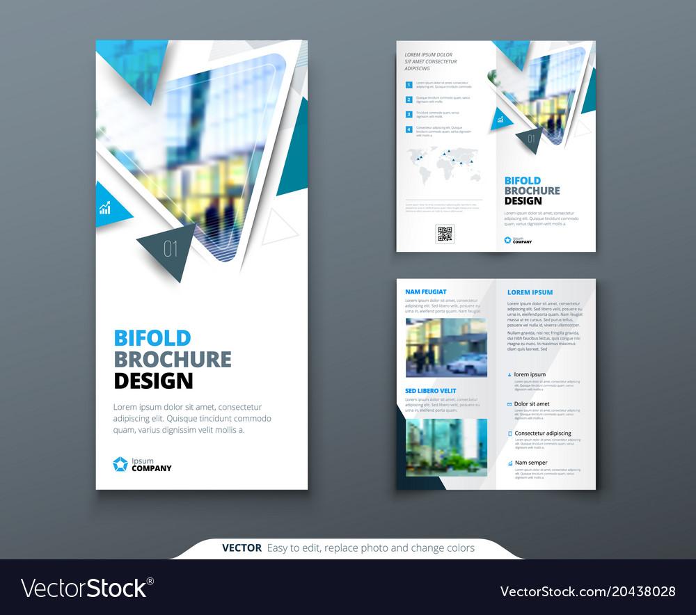 bifold brochure design blue template for bi fold vector image