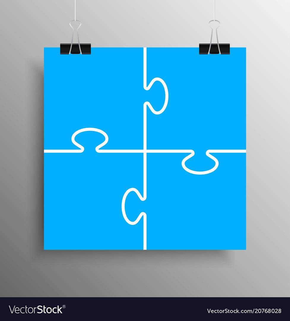 Blue piece puzzle infographic 4 step puzzle vector image