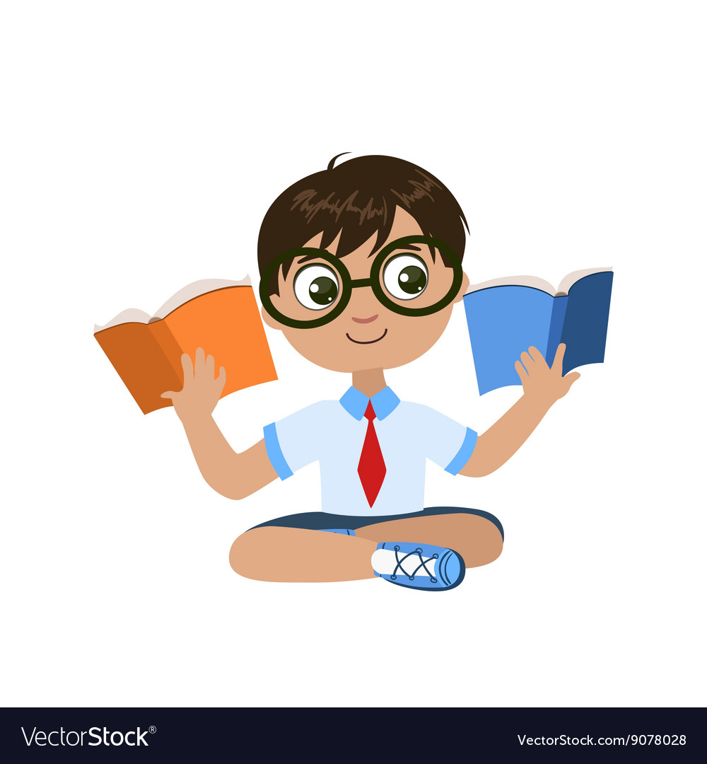 Boy Reading Two Books At The Same Time vector image