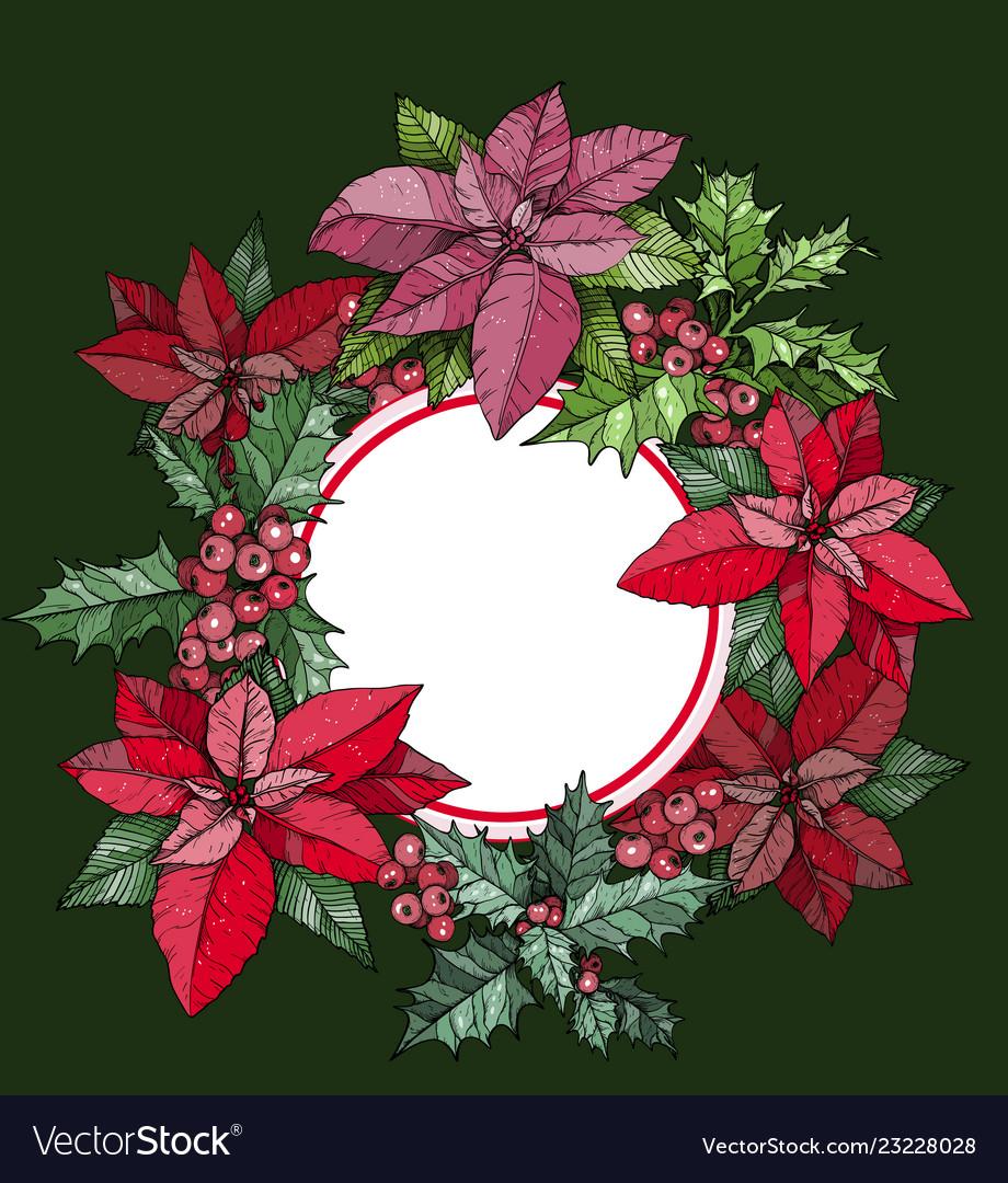 Christmas round frame poinsettia flowers