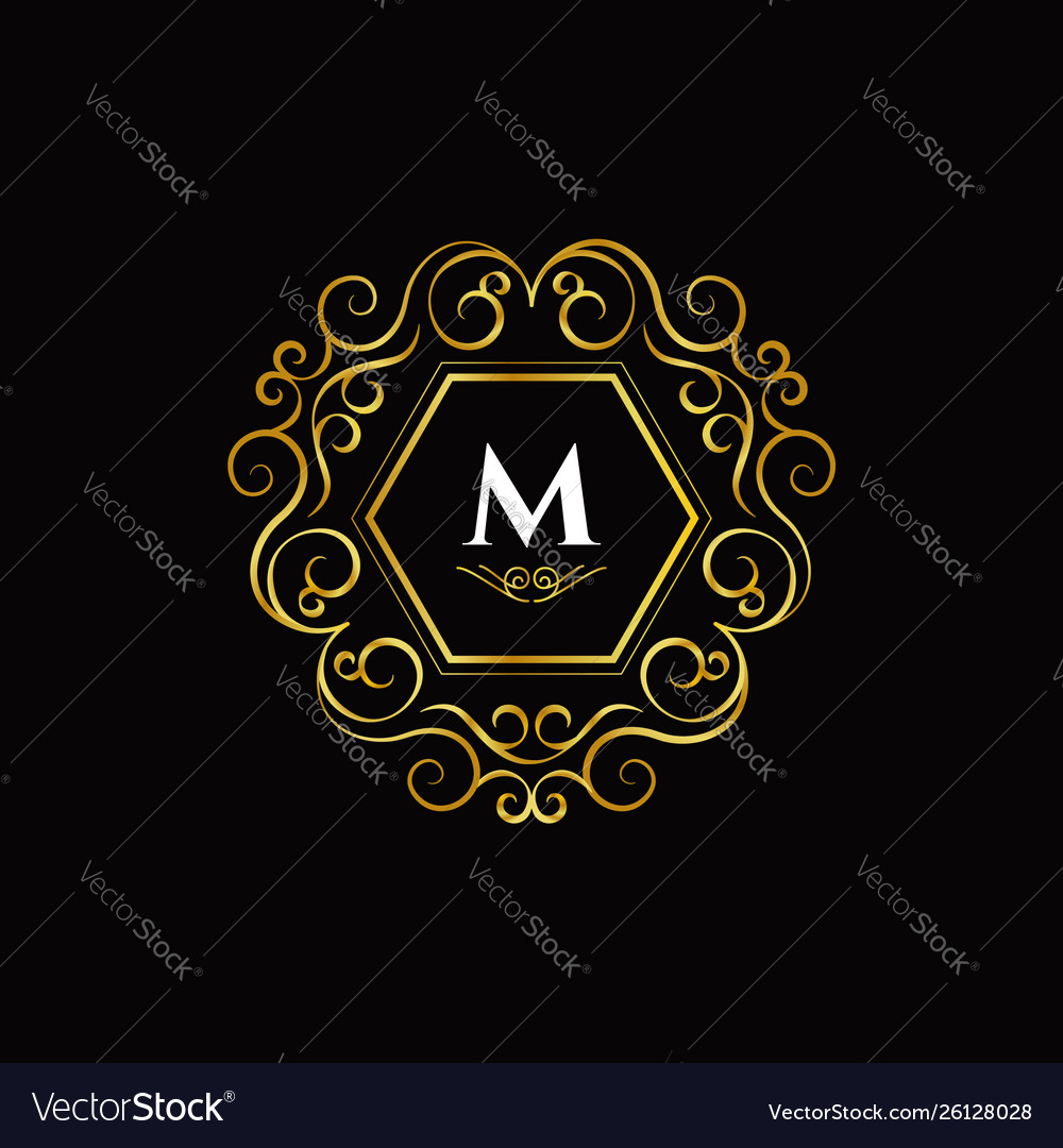 Initial letter m luxury logo sign symbol icon