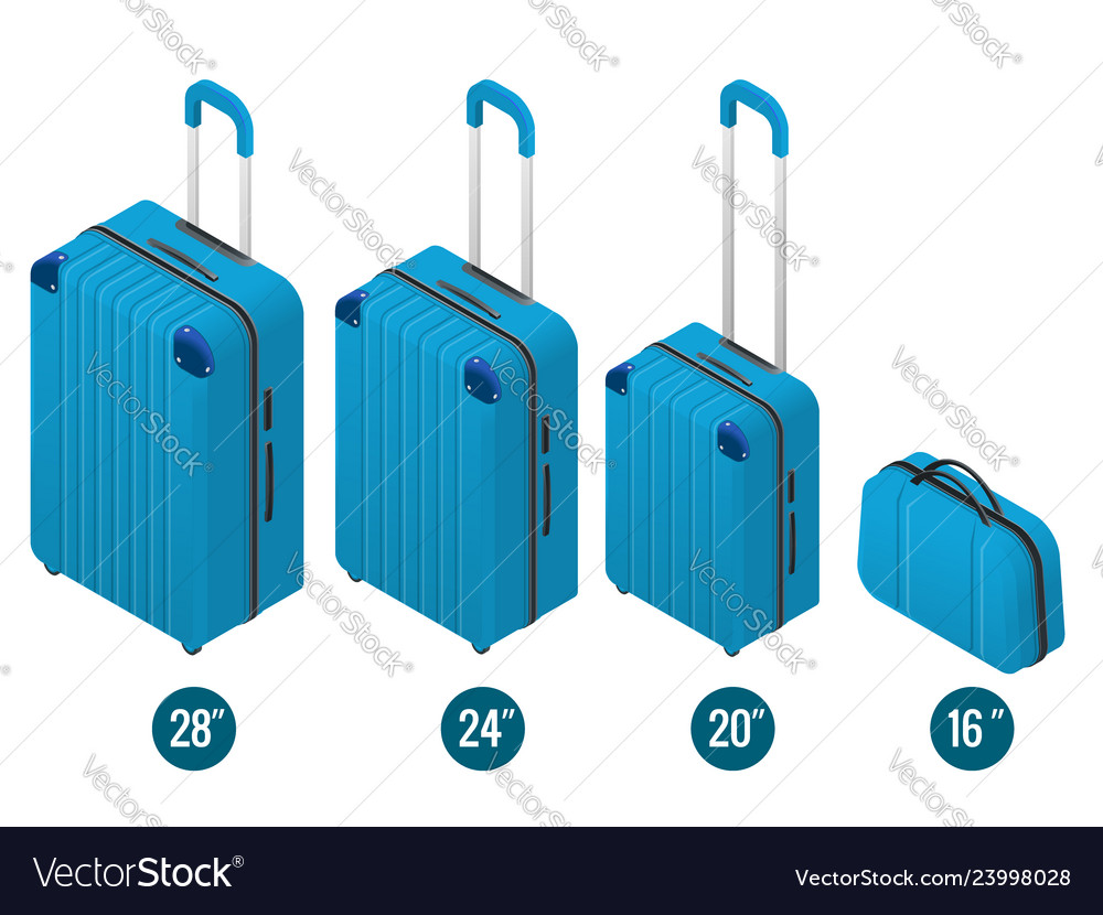 Isometric blue business and family vacation travel