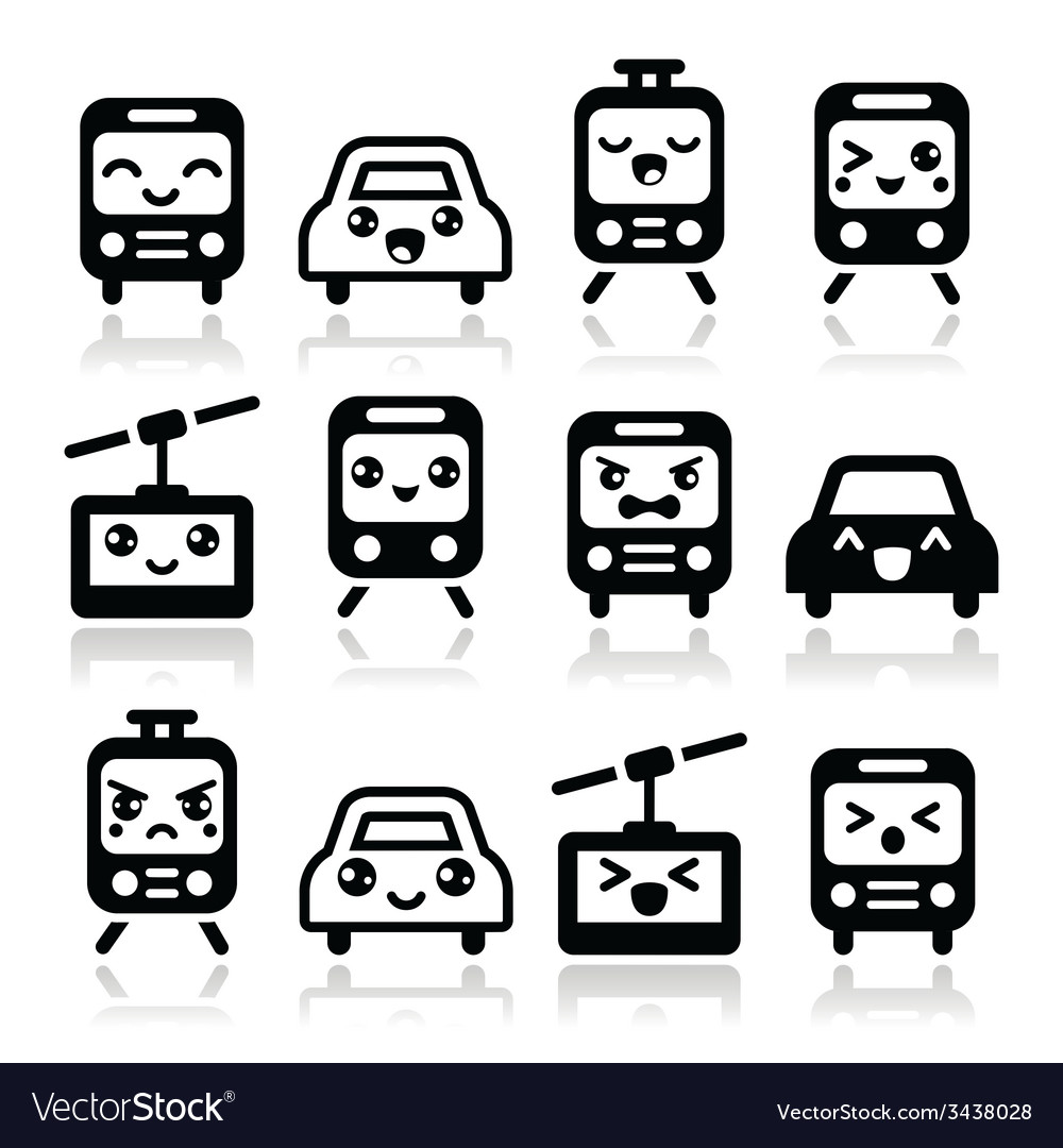 Kawaii cute icons - car bus train tram vector image