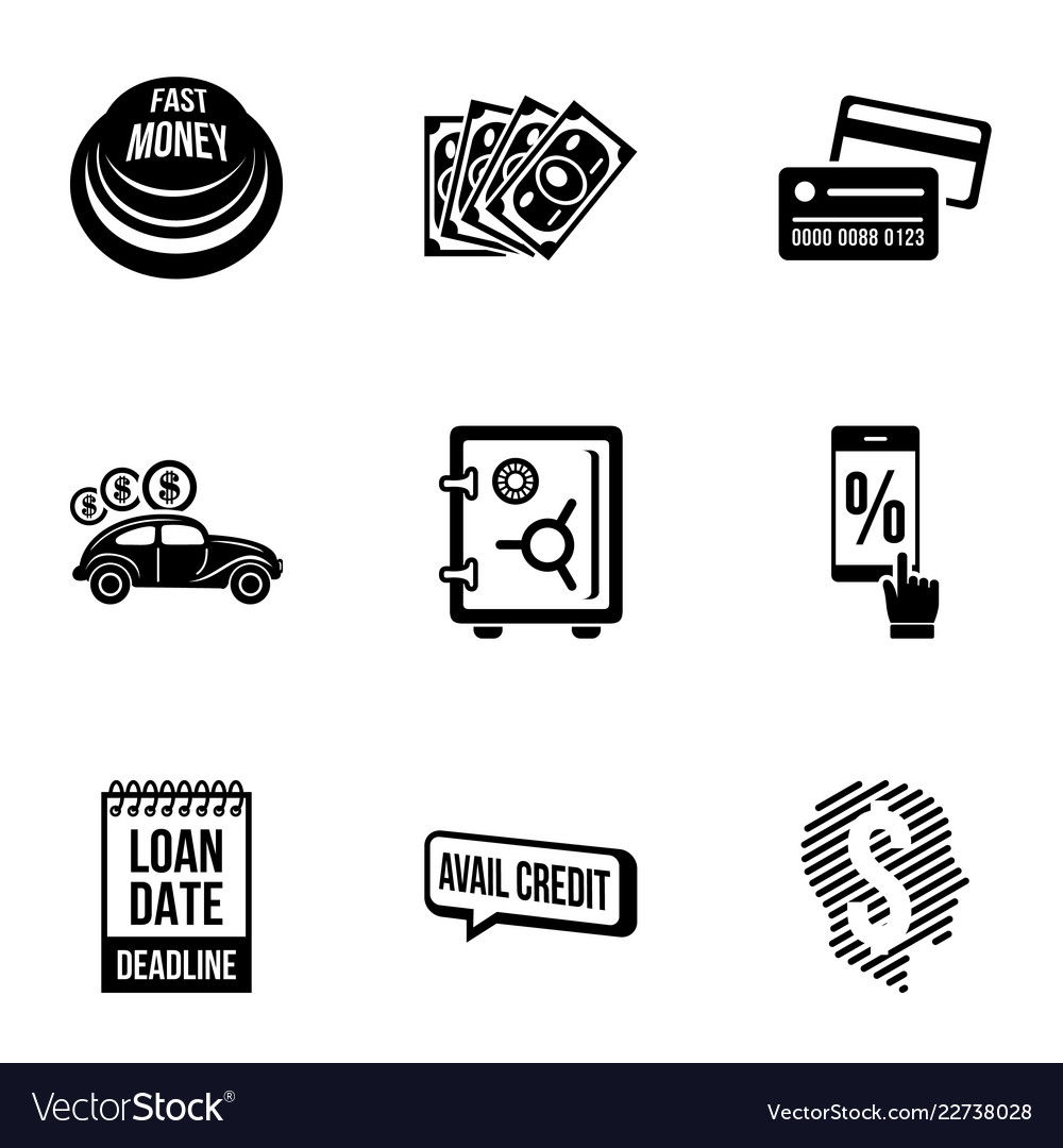 loan icons set simple style royalty free vector image