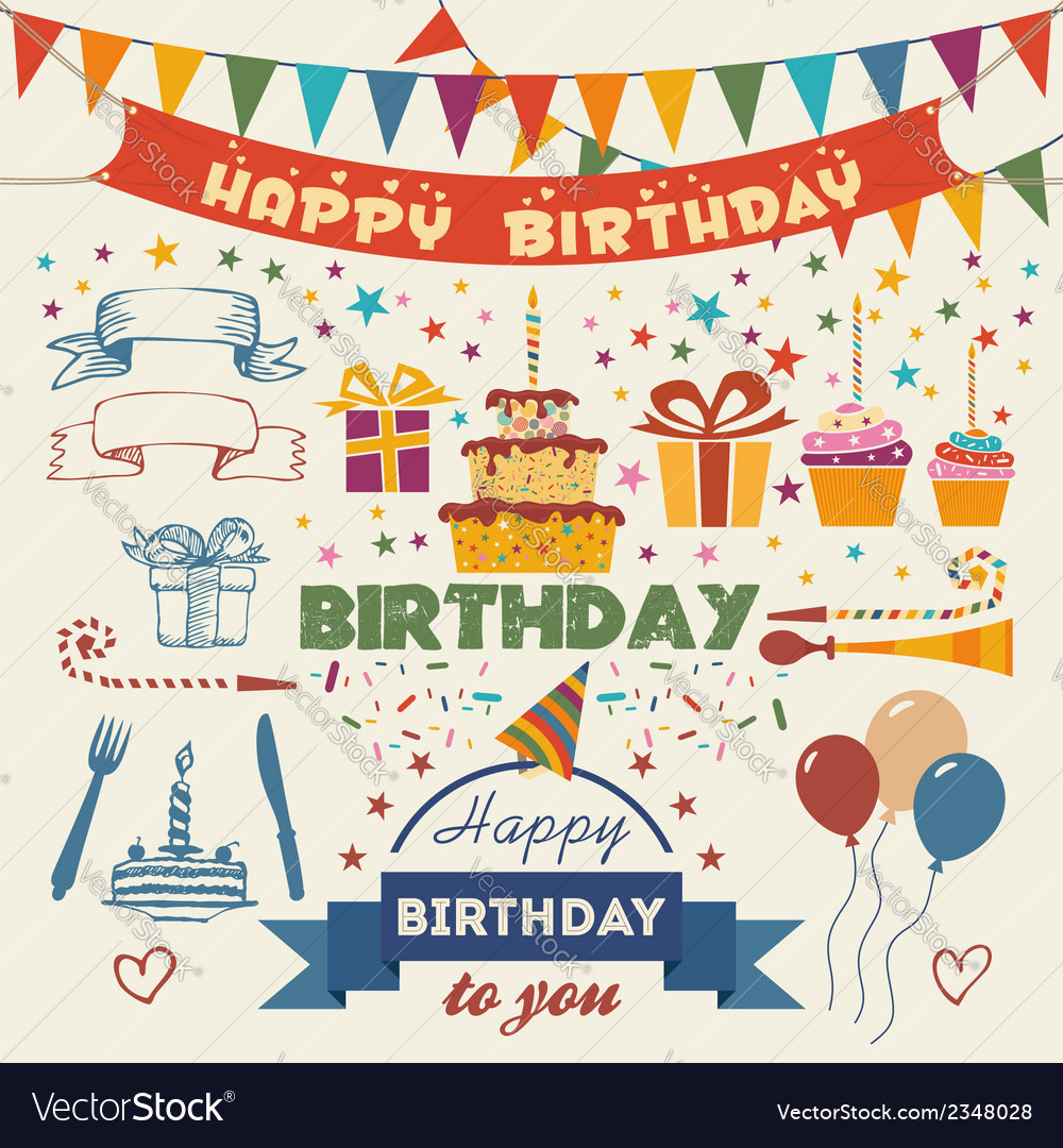 Set of birthday party flat design elements Vector Image