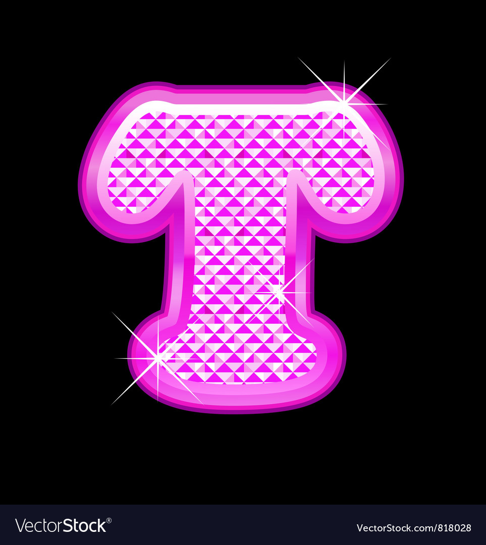 T letter pink bling girly Royalty Free Vector Image