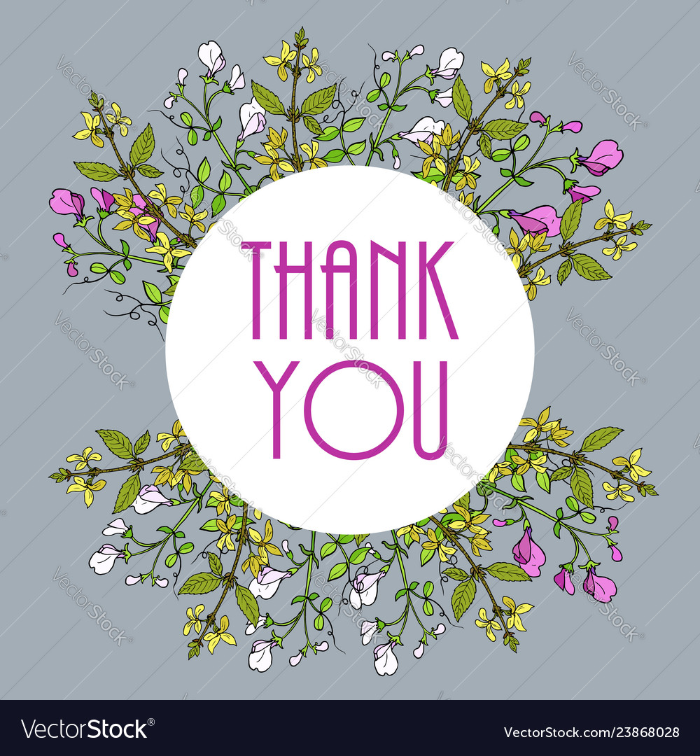 Thank you cards with sweet pea and forsythia