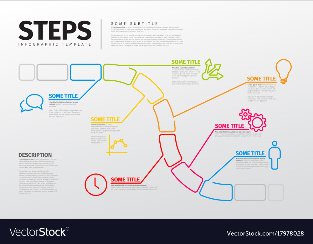 Thin line steps progress timeline template