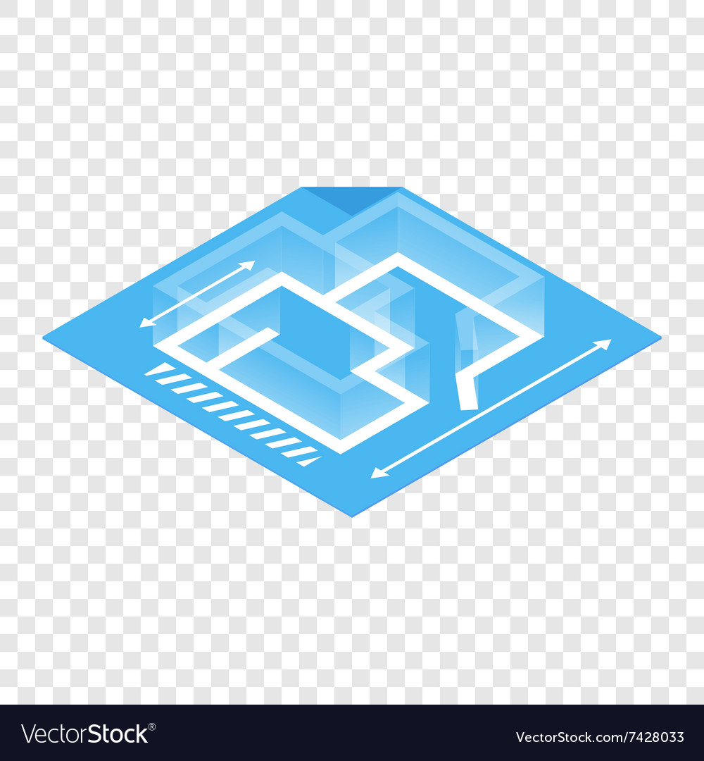 Architectural plan isometric 3d icon vector image
