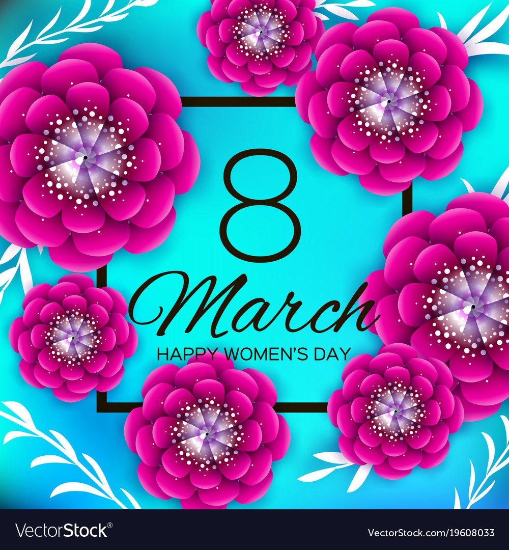 Bright Pink Origami Flowers Happy Womens Day 8 Vector Image