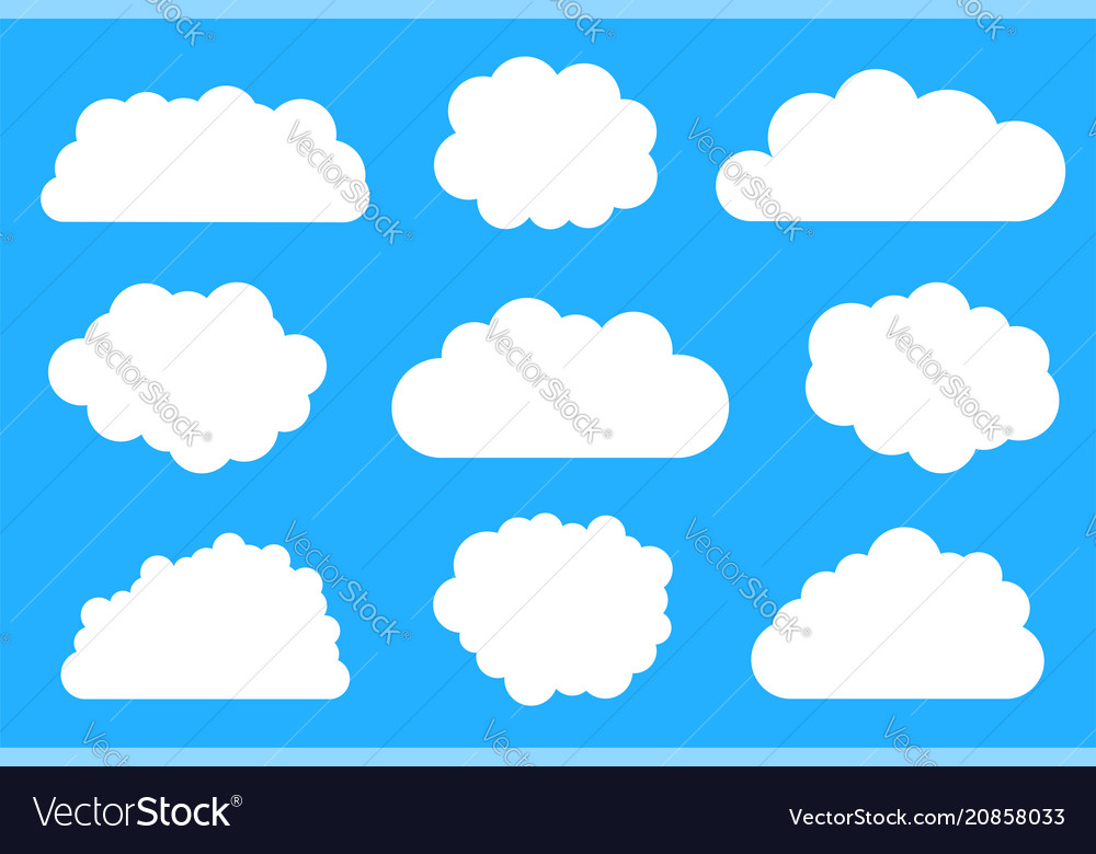 Bright white clouds collection vector image