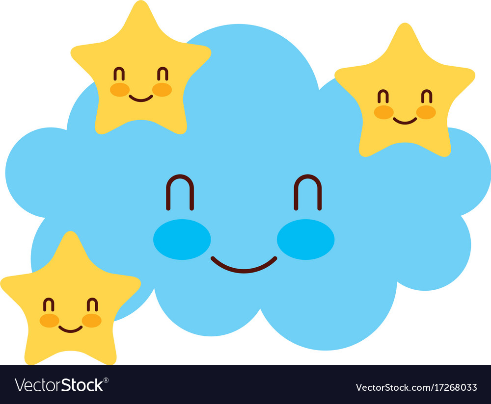 Cartoon Cute Cloud Stars Baby Shower Image Vector Image