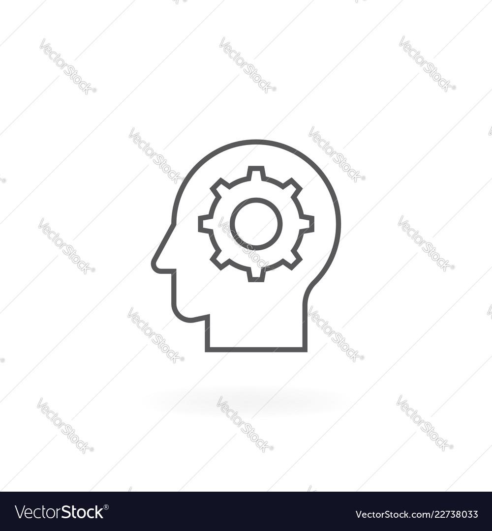 Gear in head line icon