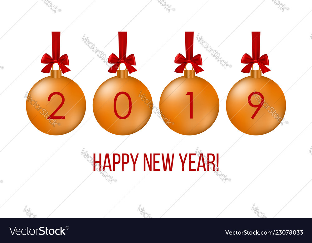 Happy new year 2019 greeting card with balls on