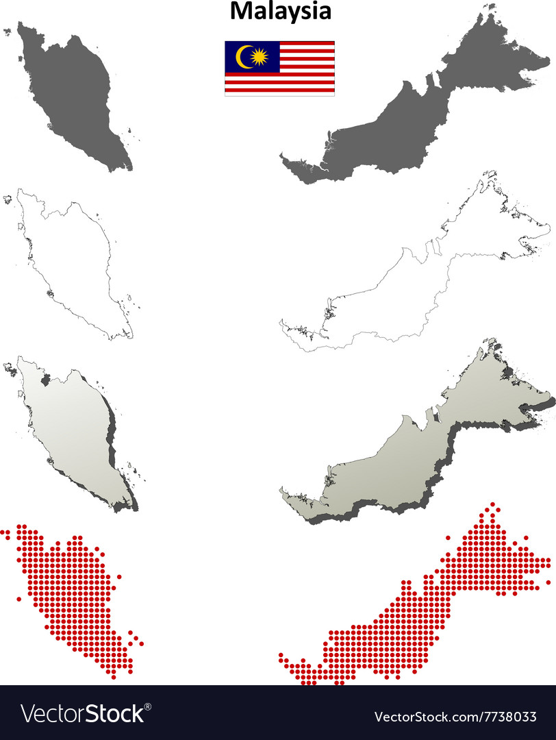 Malaysia outline map set vector image