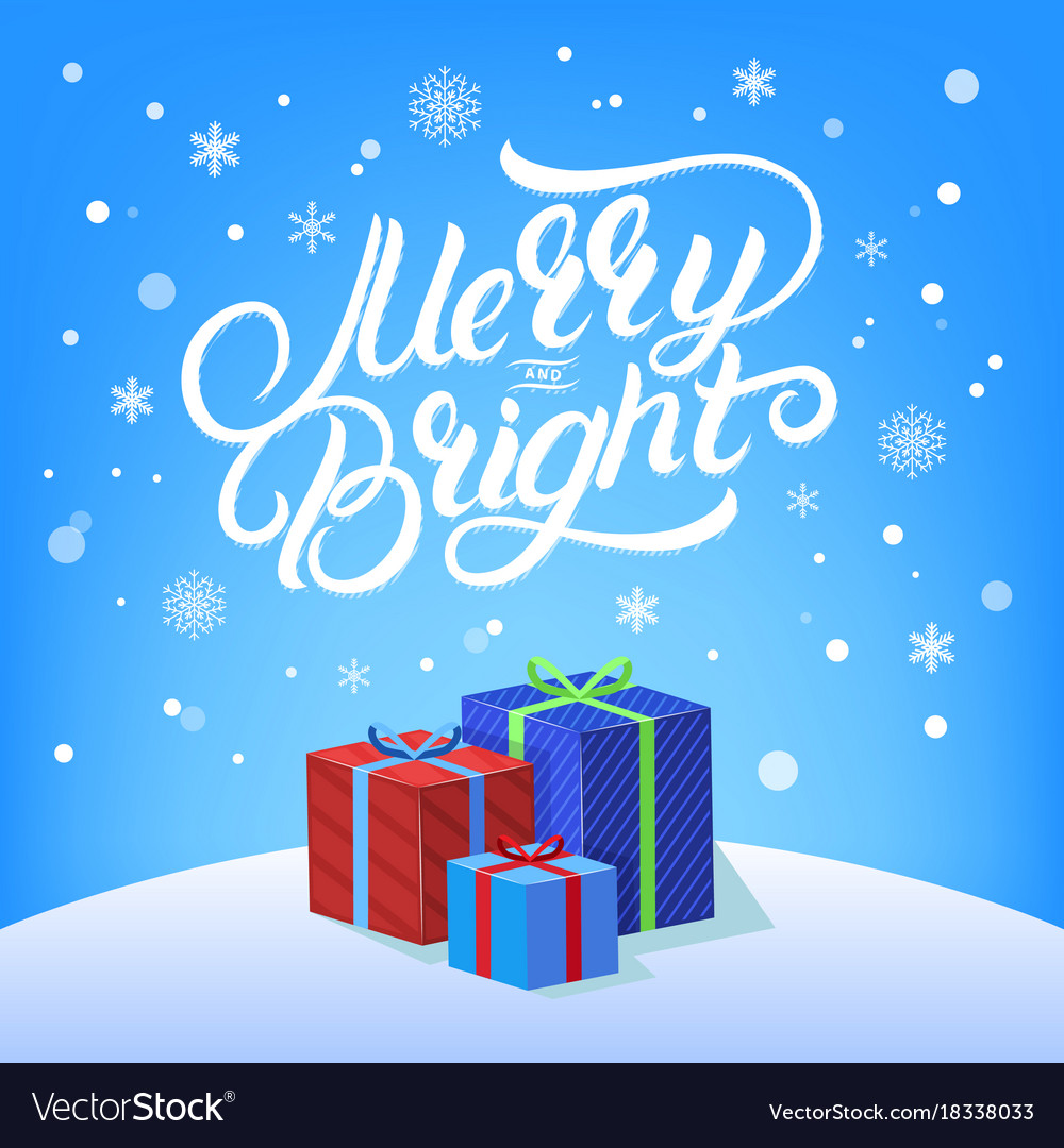 Merry and bright hand written lettering vector image