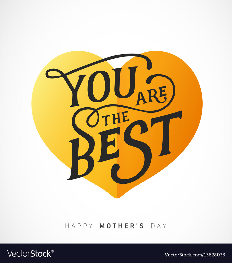 Mothers day greeting card with golden heart