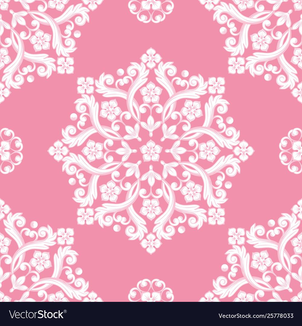 Seamless damask pattern pink texture