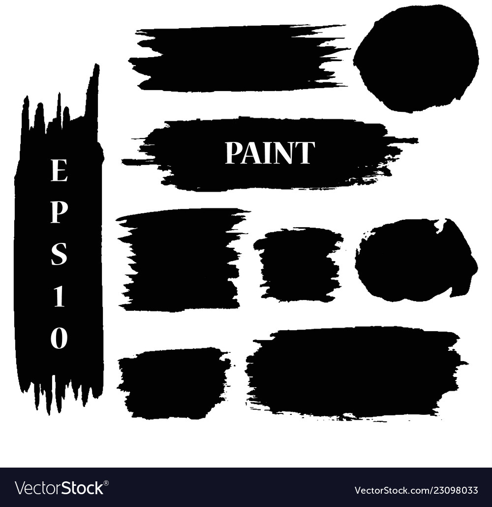 Set black ink paint stains