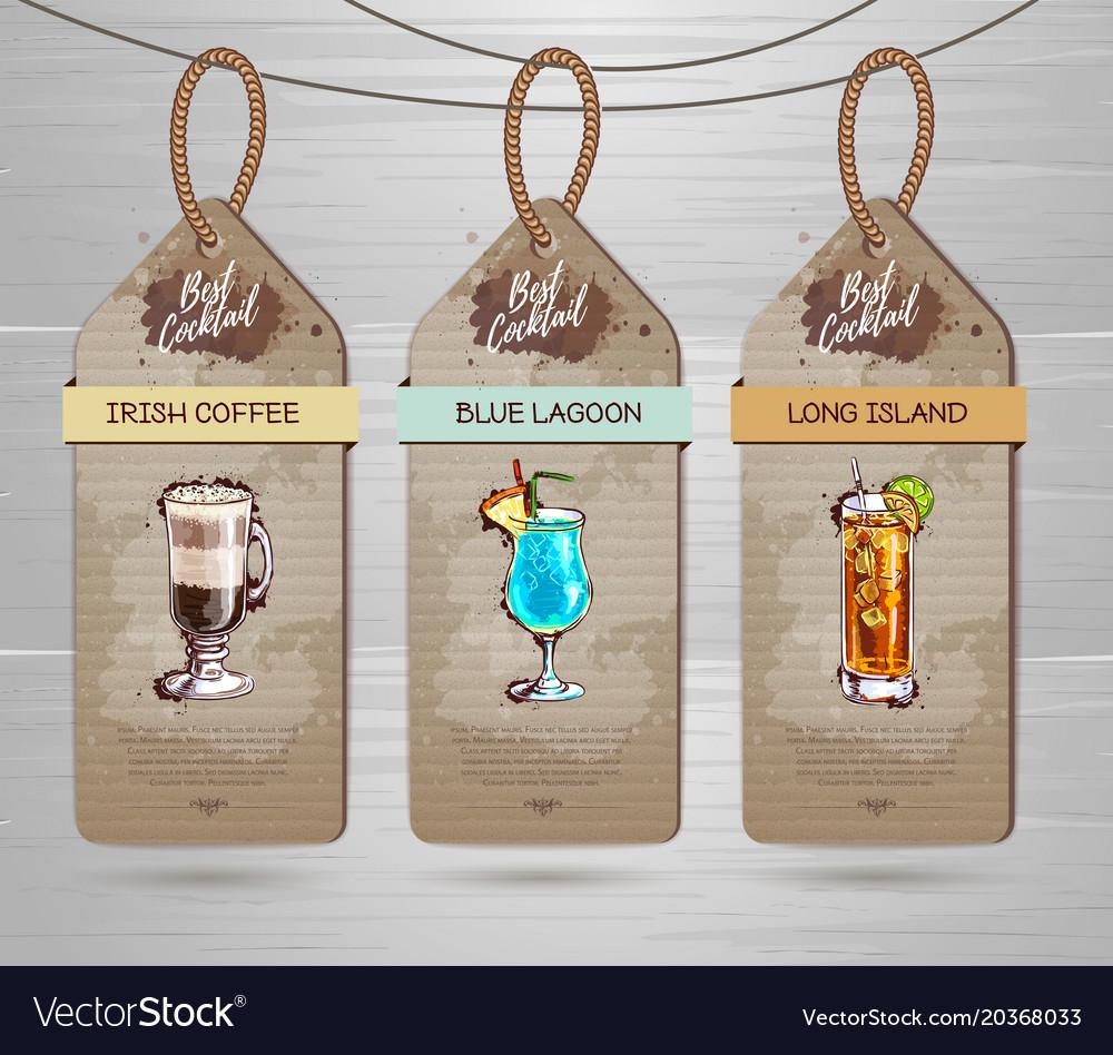 Set of restaurant labels cocktail menu design vector image