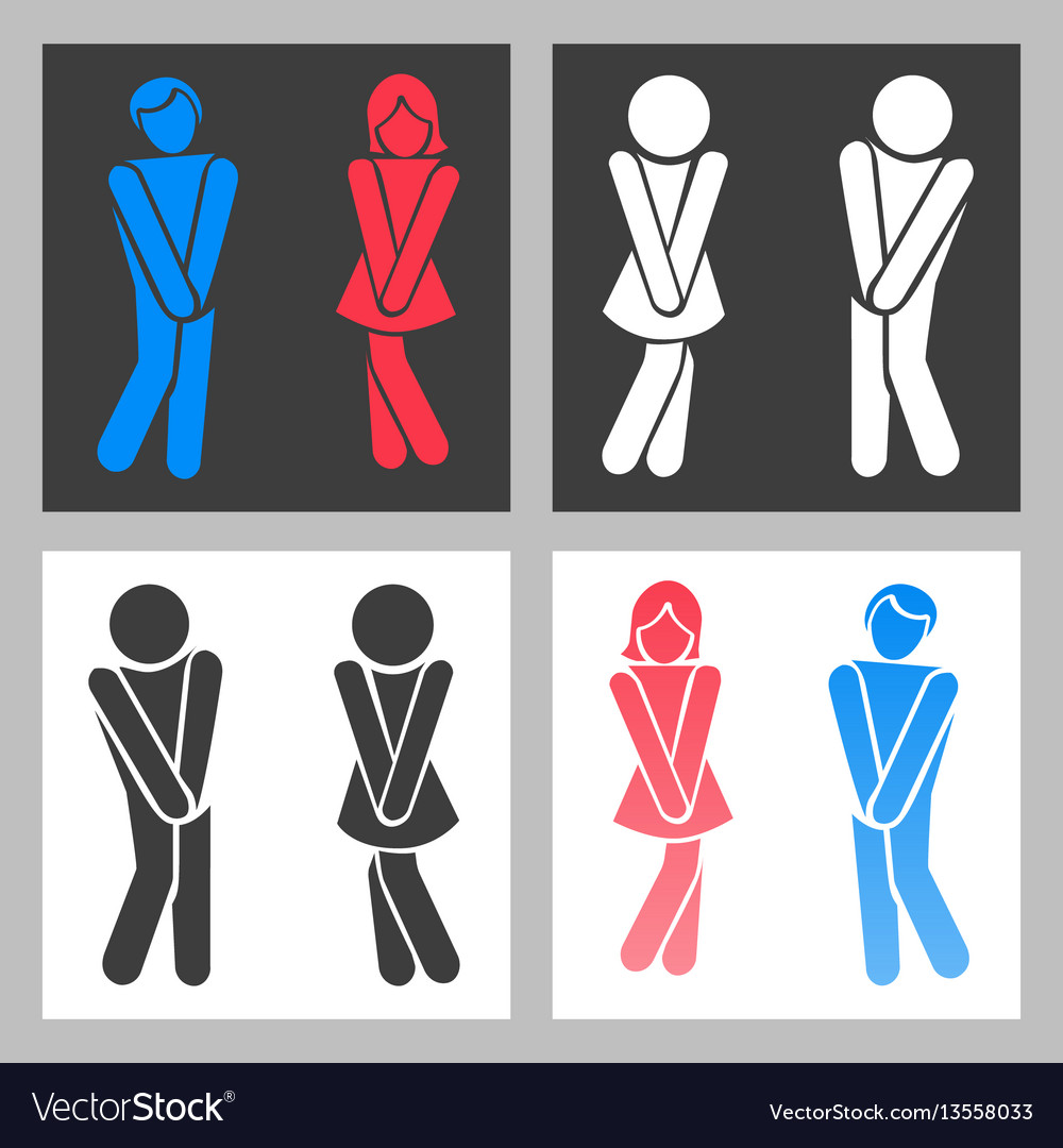 Wc sign funny boy and girl toilet icons or