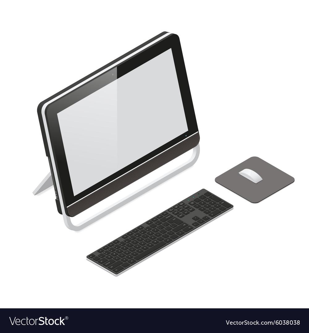 Barebone pc detailed isometric icon set