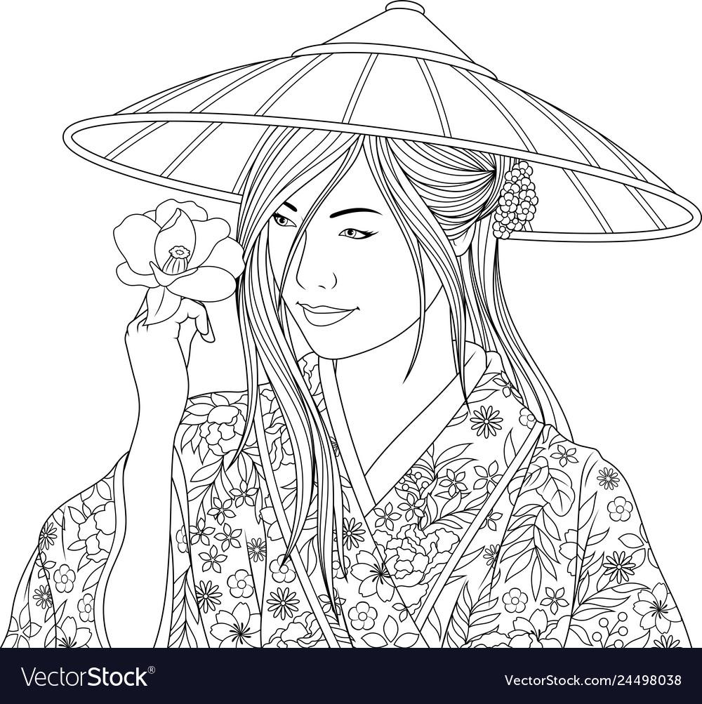 Beautiful girl in kimano