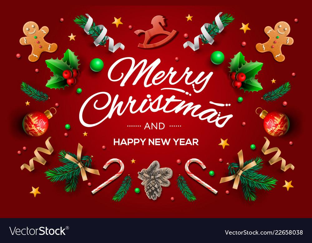 Christmas greeting card with calligraphic season